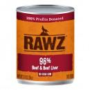 *原箱優惠*RAWZ全犬罐頭-無穀物96%牛肉、牛肝配方354g x12