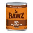 *原箱優惠*RAWZ全犬罐頭-無穀物96%鴨、火雞、鵪鶉配方354g x12